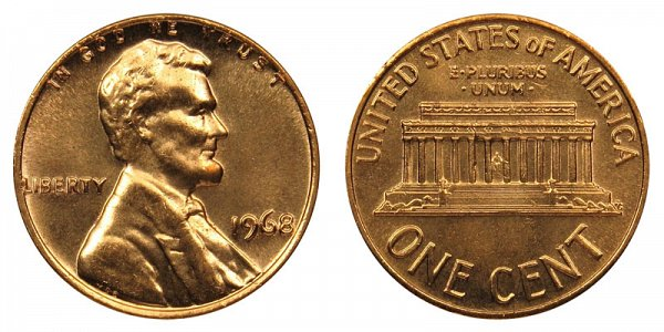 1968 P Lincoln Memorial Cent Copper Alloy Penny Value And