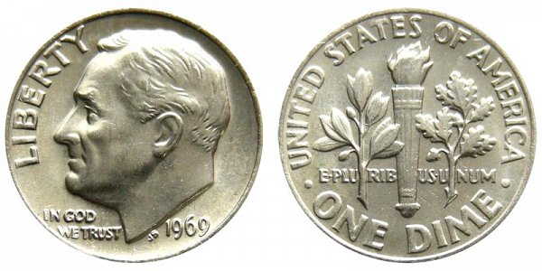 1969 Roosevelt Dime