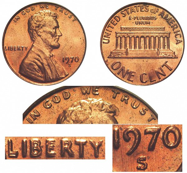 1970 S Doubled Die Obverse DDO Lincoln Memorial Cent Penny