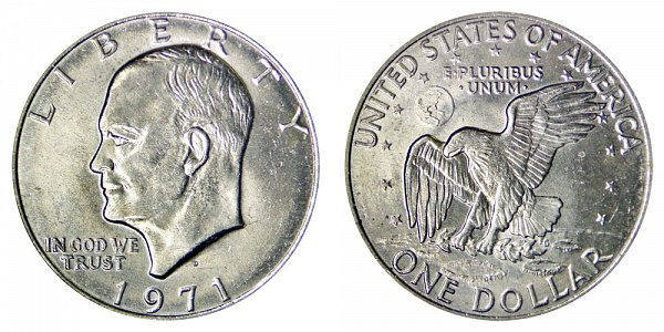 1971 D Type 1 Eisenhower Ike Dollar - Friendly Eagle - Accented Crater Lines