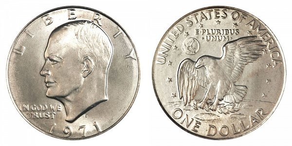 1971 D Type 2 Eisenhower Ike Dollar - Common Reverse