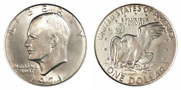 1971 D Type 2 Eisenhower Ike Dollar - Common Reverse
