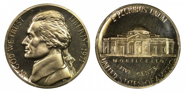 1971 No S Jefferson Nickel