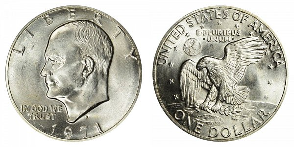 1971 S Silver Eisenhower Ike Dollar - Brilliant Uncirculated