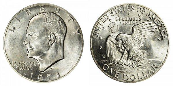 1971 S Silver Eisenhower Ike Dollar - Brilliant Uncirculated
