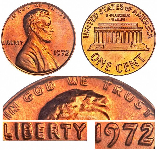 1972 Doubled Die Obverse DDO Lincoln Memorial Cent Penny