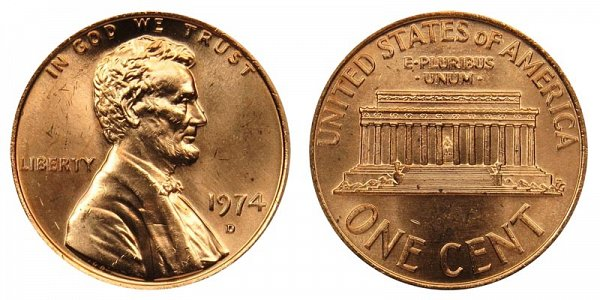 1974 D Lincoln Memorial Cent Penny