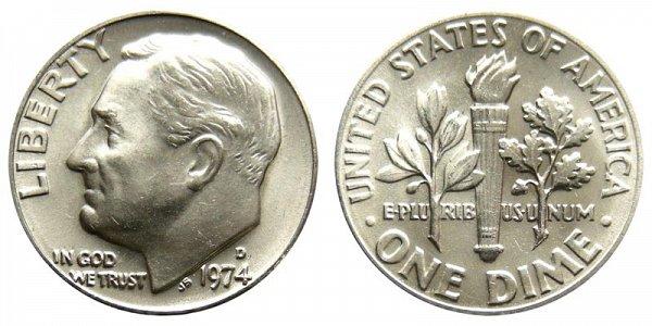 1974 D Roosevelt Dime