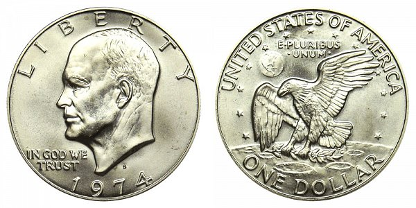1974 S Silver Eisenhower Ike Dollar - Brilliant Uncirculated