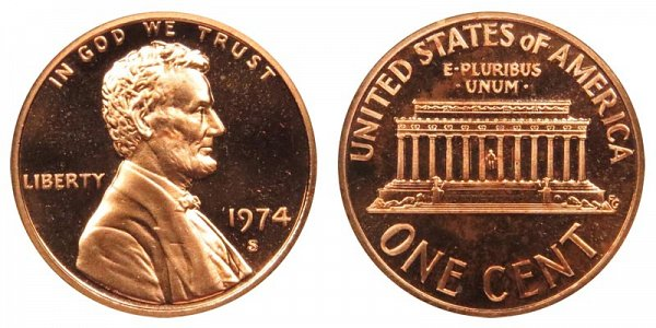 1974 S Lincoln Memorial Cent Penny