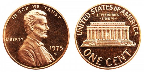 1975 S Lincoln Memorial Cent Penny Proof