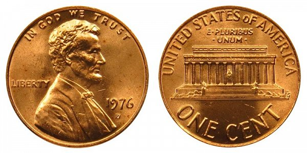 1976 D Lincoln Memorial Cent Penny