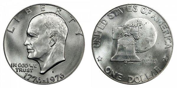1976 S Type 1 Silver Bicentennial Eisenhower Ike Dollar