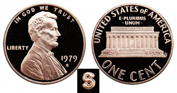 1979 S Type 2 Clear S Proof Lincoln Memorial Cent Penny