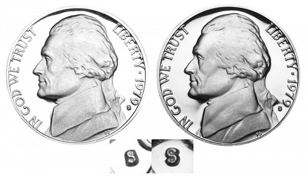 1979 Type 1 Filled S vs Type 2 Clear S Jefferson Nickel
