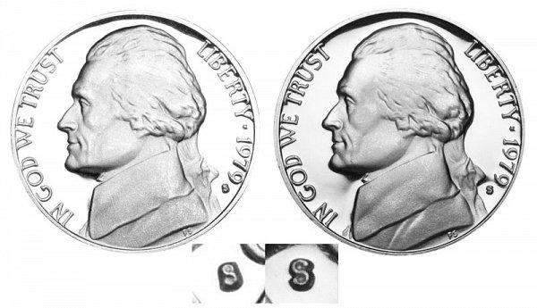 1979 Type 1 Filled S vs Type 2 Clear S Jefferson Nickel