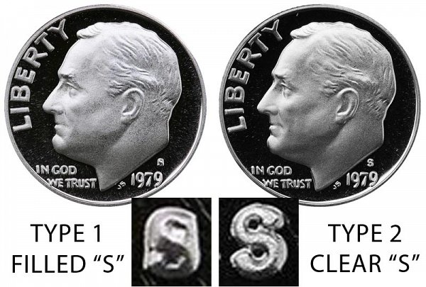 1979 Type 1 Filled S vs Type 2 Clear S Roosevelt Dime - Difference and Comparison