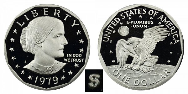 1979 S Susan B Anthony SBA Dollar Proof - Type 2 Clear S