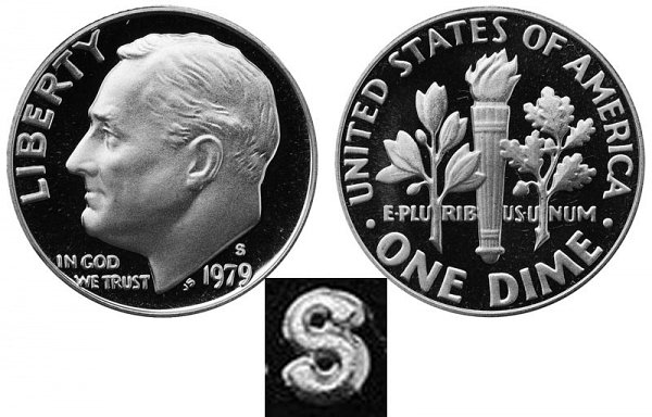 1979 Type 2 Clear S Roosevelt Dime Proof