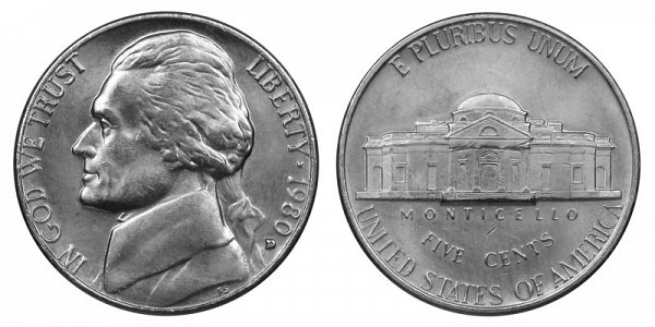 1980 D Jefferson Nickel