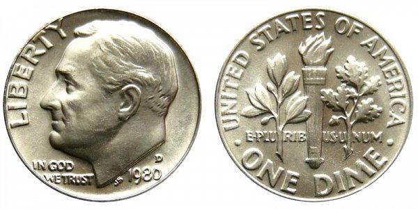 1980 D Roosevelt Dime