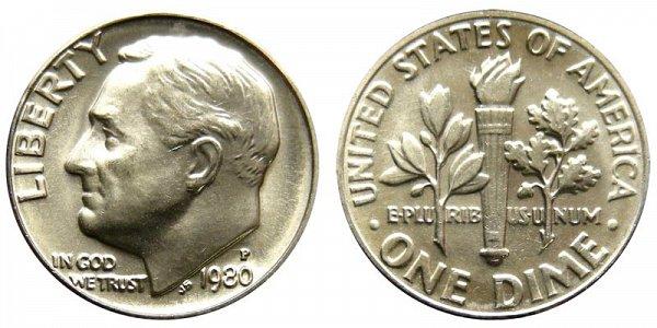 1980 P Roosevelt Dime