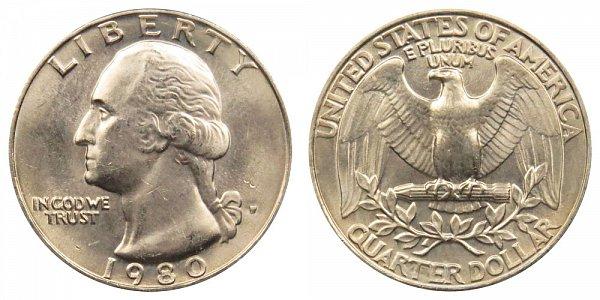 1980 P Washington Quarter