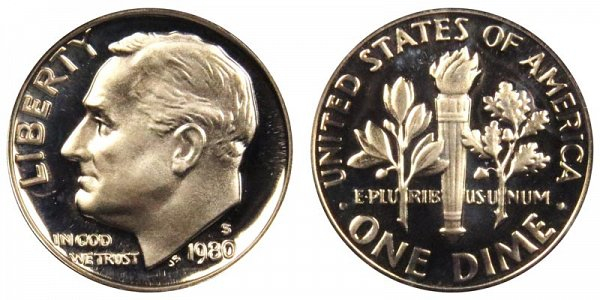 1980 S Roosevelt Dime Proof