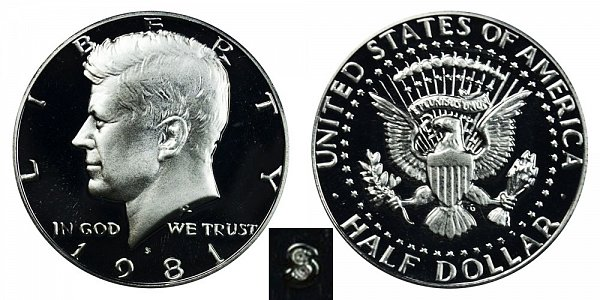 1981 Type 1 Filled S Kennedy Half Dollar Proof