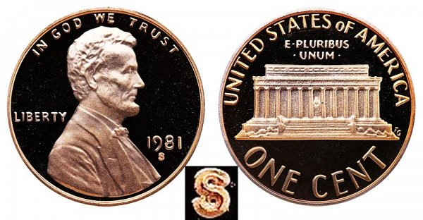 1981 S Type 1 Filled S Proof Lincoln Memorial Cent Penny