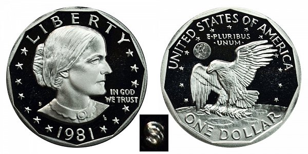 1981 S Susan B Anthony SBA Dollar Proof - Type 1 Filled S