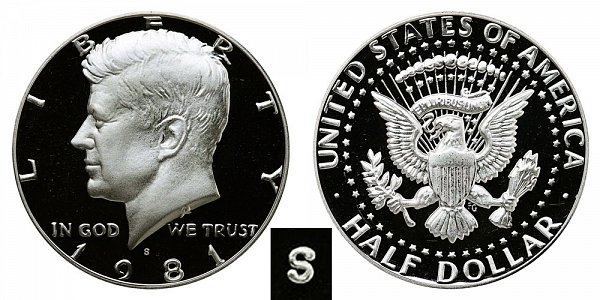 1981 Type 2 Clear S Kennedy Half Dollar Proof