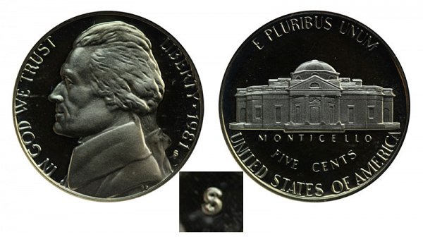 1981 Type 1 Filled S Jefferson Nickel Proof