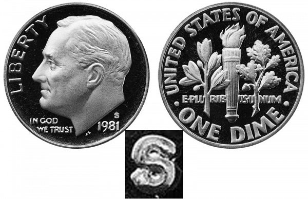 1981 Type 1 Filled S Roosevelt Dime Proof
