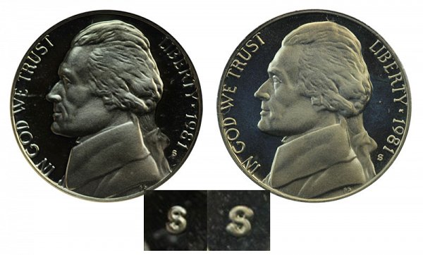 1981 Type 1 Filled S vs Type 2 Clear S Jefferson Nickel