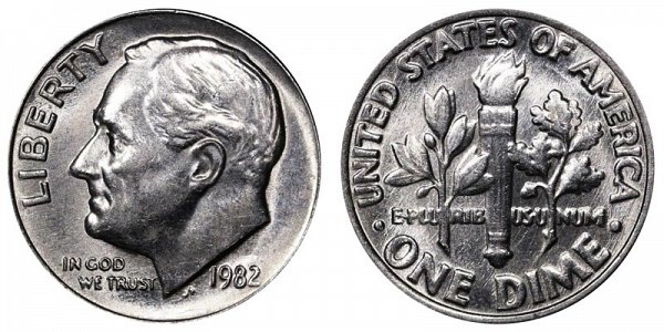1982 No P Mint Mark Roosevelt Dime