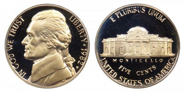 1982 S Jefferson Nickel Proof