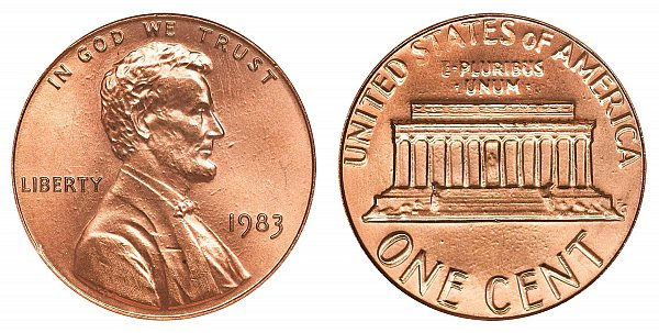 1983 Doubled Die Reverse DDR Lincoln Memorial Cent Penny