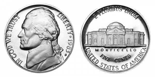 1983 S Jefferson Nickel Proof