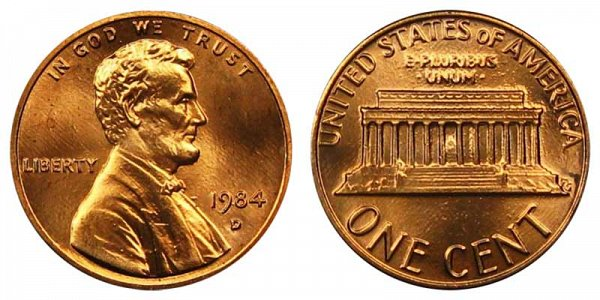 1984 D Lincoln Memorial Cent Penny