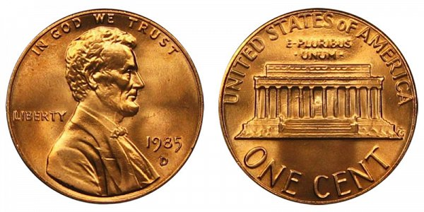 1985 D Lincoln Memorial Cent Penny