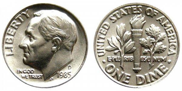 1985 D Roosevelt Dime
