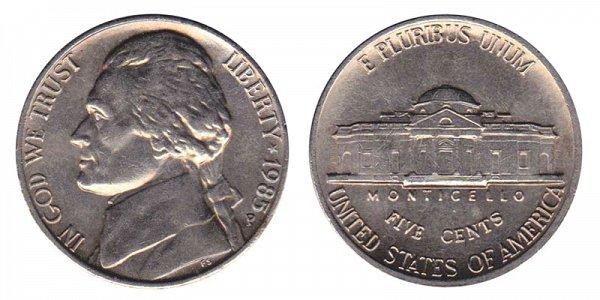 1985 P Jefferson Nickel