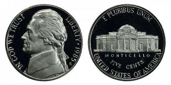 1985 S Jefferson Nickel Proof