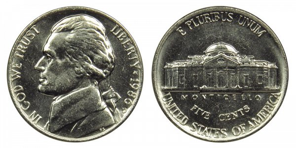 1986 D Jefferson Nickel