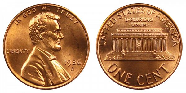 1986 D Lincoln Memorial Cent Penny