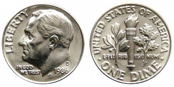 1986 D Roosevelt Dime