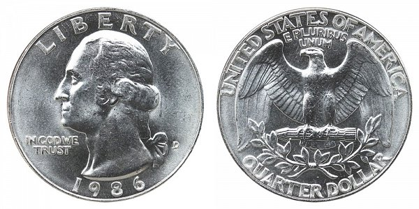 1986 D Washington Quarter