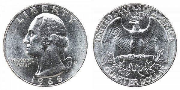 1986 D Washington Quarter
