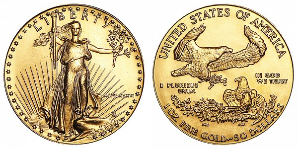 1986 One Ounce American Gold Eagle - 1 oz Gold $50  - MCMLXXXVI